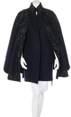 Emilio Pucci Embellished Wool Cape w/ Tags