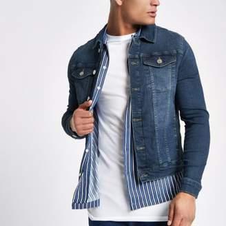 River Island Dark blue muscle fit denim jacket