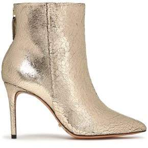Schutz Metallic Cracked-Leather Ankle Boots