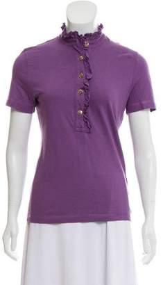 Tory Burch Short Sleeve Ruffle Shirt