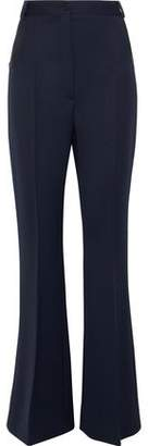 Nina Ricci Leather-Trimmed Wool Flared Pants