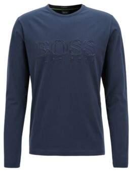 BOSS Hugo Long-sleeved T-shirt in stretch cotton reflective logo XL Dark Blue