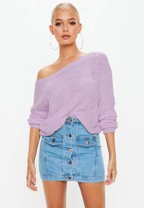 Missguided Purple Off Shoulder Tape Yarn Sweater