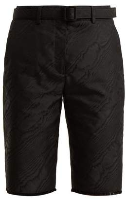 Off-White Off White High Rise Belted Moire Shorts - Womens - Black