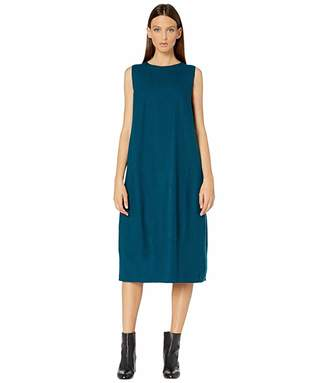 Eileen Fisher Boiled Wool Jersey Round Neck Calf Length Lantern Dress