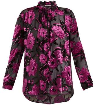 Preen by Thornton Bregazzi Emiline Floral Devore Blouse - Womens - Black Purple