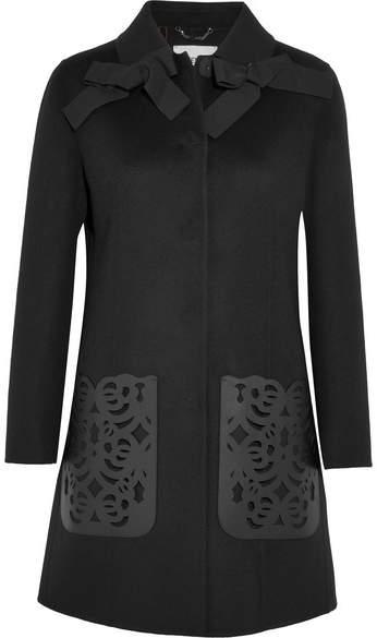 Fendi - Leather-paneled Wool-felt Coat - Black