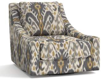 Pottery Barn Aiden Upholstered Swivel Armchair - Print and Pattern