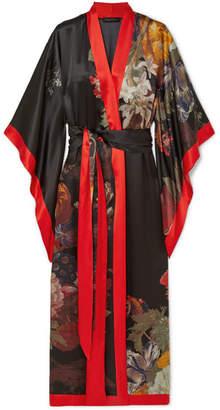 Carine Gilson Floral-print Silk-satin Robe - Black