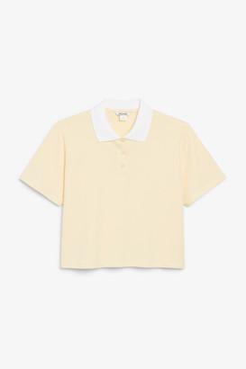 Monki Cropped pique polo shirt