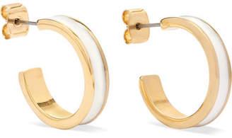 Isabel Marant Gold-tone And Enamel Hoop Earrings - Ecru