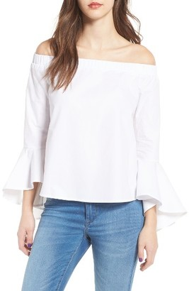 Women's Soprano Bell Sleeve Off The Shoulder Blouse $39 thestylecure.com