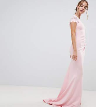 City Goddess Petite City Goddess petite Fishtail Maxi Dress With Lace Detail