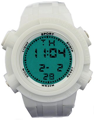 Alexis dw357bホワイト時計ケースクロノグラフバックライトホワイトベゼルメンズレディースデジタル腕時計
