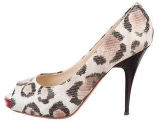 Giuseppe Zanotti Leopard Peep-Toe Pumps