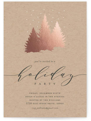 Falling Snow Foil-pressed Party Invitation