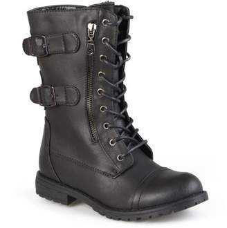 Brinley Co. Womens Combat Buckle Mid-Calf Lace-Up Boot
