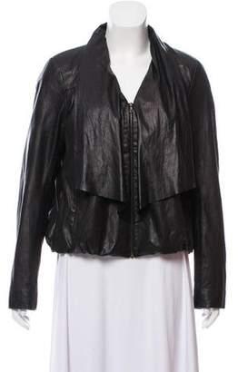 Diane von Furstenberg Leather Zip-Up Jacket