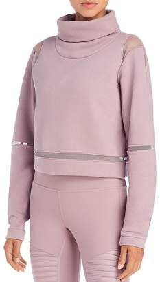 Alo Yoga Advance Mesh-Inset Fleece Sweater