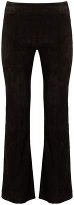 The Row Athby kick-flare suede trousers