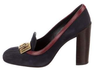 Tory Burch Suede High-Heel Loafers