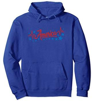 America Heartbeat Hoodie Red Fourth of July Outfit Stars