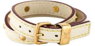 Louis Vuitton Studded Leather Wrap Bracelet