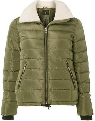Dorothy Perkins Womens Khaki Faux Fur Padded Jacket