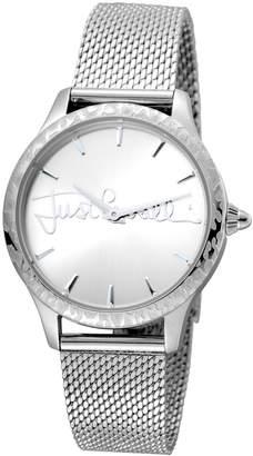 Just Cavalli 34mm Logo Stainless Steel Bracelet Watch w/ Leopard Bezel, Silver