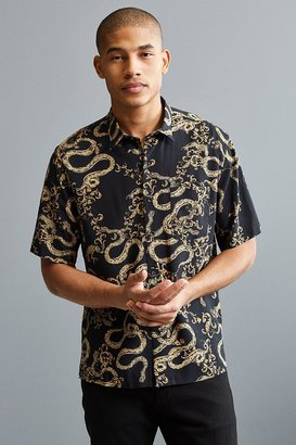 Urban Outfitters UO Baroque Rayon Short Sleeve Button-Down Shirt $49 thestylecure.com