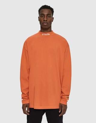 Heron Preston L/S CTNMB Mock Neck T-Shirt in Orange