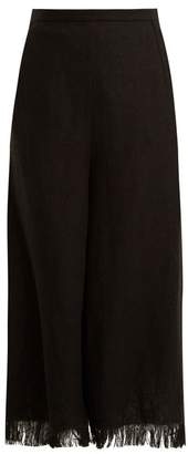 Andrew Gn Wide Leg Frayed Cuff Linen Cropped Trousers - Womens - Black