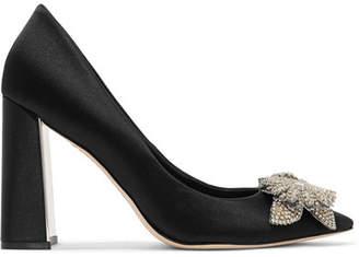 Sophia Webster Lilico Crystal-embellished Satin Pumps - Black