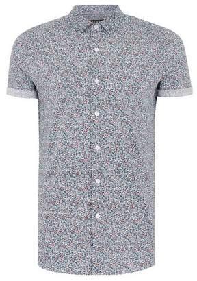 Topman Mens White Ditsy Muscle Short Sleeve Shirt