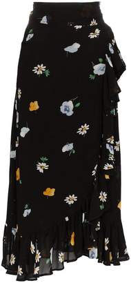 Ganni georgette floral and daisy wrap skirt