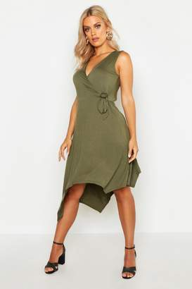 boohoo Plus Wrap Front Hanky Hem Dress
