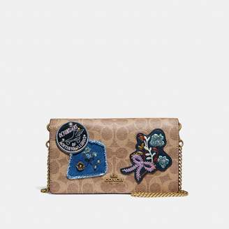 Coach Callie Foldover Chain Clutch In Signature Canvas With Patchwork