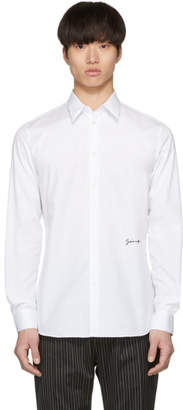 Givenchy White Cotton Embroidered Signature Shirt