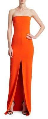 SOLACE London Bysha Strapless Front-Slit Gown