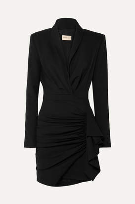 Alexandre Vauthier Ruched Wool-blend Twill Mini Dress - Black