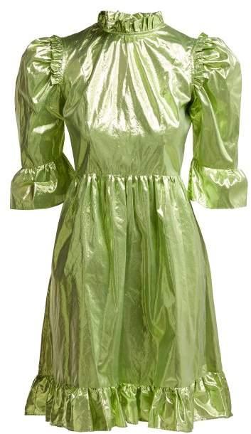 Batsheva - Ruffle Trimmed Prairie Lame Mini Dress - Womens - Green