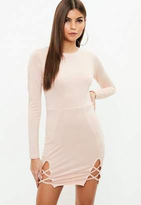 Missguided Nude Round Neck Stretch Crepe Bodycon Dress