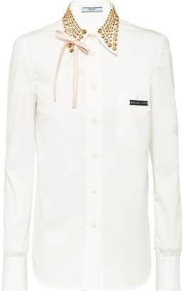 Prada studded collar shirt