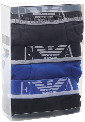Giorgio Armani Stretch Cotton Logo Waist Trunks (Pack of 3)