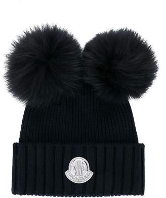 Moncler logo pom pom hat