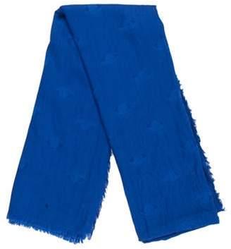 Kenzo Wool-Blend Raw-Edge Scarf Blue Wool-Blend Raw-Edge Scarf