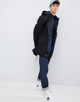 Fred Perry hooded fishtail parka jacket in black