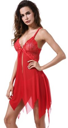 Acappella Chemise Lingerie Sexy Nightie Full Slips Lace Babydoll Sleepwear with G String Red XX-Large