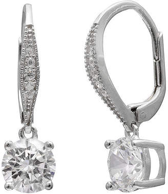 SPARKLE ALLURE Round Cubic Zirconia Silver-Plated Drop Earrings