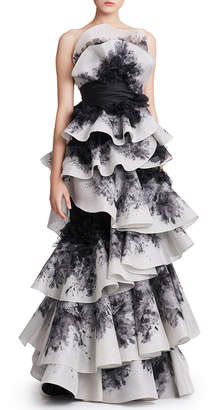 Marchesa Ombre Floral-Print Strapless Tiered Gown